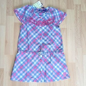 MEXX Gingham Style Button Pink Blue Summer Dress